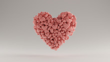 Large Pink 3d Heart Icon Made Out Of Lots Of Smaller Hearts 3d Illustration 3d Render
