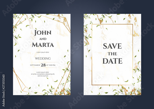 Obraz Wedding Invitation Cards With Luxury Gold Marble