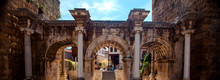 The Hadrian's Gate. Is A Triumphal Arch Located In Antalya, Turkey.