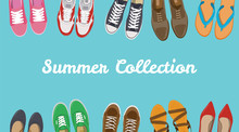 Men's And Women's Shoes Background. Shoes Icons. Sneakers And Slippers Collection. Vector