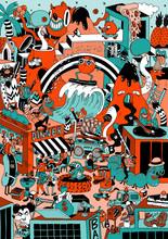 Doodle Illustration Of Imaginary Cartoon City