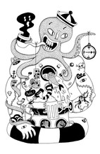 Black And White Doodle Of An Anthropomorphic Octopus Sailor