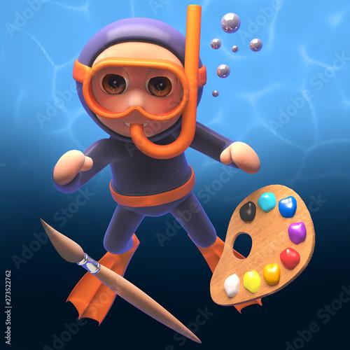 3d scuba snorkel diver with paintbrush and palette Canvas-taulu