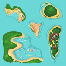 Beautiful Seamless Tropical Island Pattern On Blue Background. Landscape With Map Of Green Islands, Beaches With Boats, Bungaloo And Ocean. Vector Illustration For Poster Background.