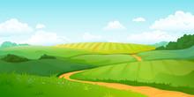 Summer Fields Landscape. Carto...