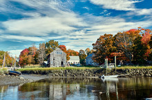 Fall In Essex, Massachusetts, USA. Autumn Scene At Old Wharf.