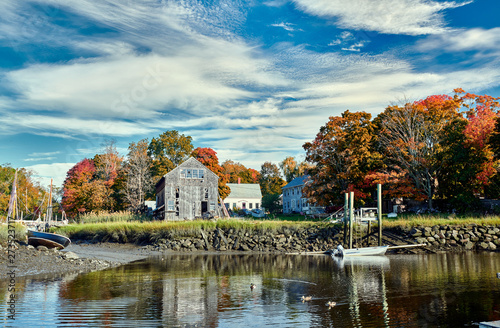 Fall in Essex, Massachusetts, USA. Autumn scene at old wharf. Wallpaper Mural