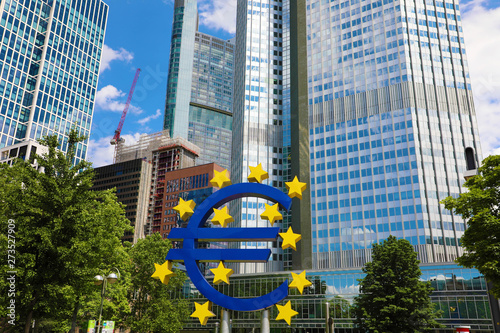 Fototapeta  Business and finance concept with giant Euro sign at European Central Bank headq