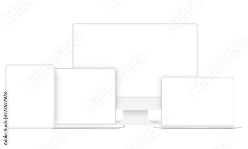 Set of modern clay devices mockups: PC, laptops, tablet computer. Vector illustration