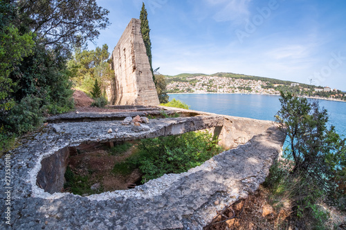 Lost place port with funicular to bauxite mine near Rabac Canvas Print