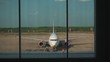 view of the plane from the airport terminal