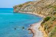 Limassol. Cyprus. Pathos. The Kourion beach panorama. Apollo bay. The Kourion seaside. Episkopi bay. Mediterranean steep rocky coast. Cyprus natural landscapes. Sightseeing In Limassol.