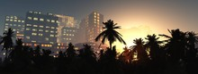 Palms And Skyscrapers In The Evening, Modern City With Palm Trees In The Evening, 3d Rendering