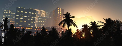 Tablou Canvas Palms and skyscrapers in the evening, modern city with palm trees in the evening