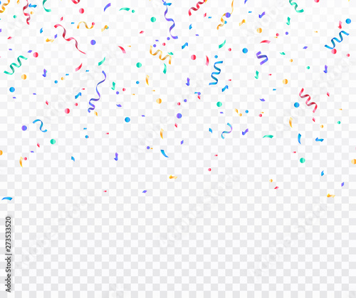 Fototapeta Colorful confetti. Festive of falling shiny confetti isolated on transparent background. Holidays design. Colorful bright confetti background. obraz na płótnie