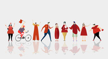 People In Red. Silhouettes Of People Different Ages, Weight And Professions. Template For Your Project