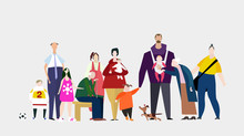 Big Happy Family Illustration. Grand Parents, Grand Children, Mother And Father And Pets - Dog And Cat.