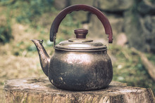 Vintage Large Aluminum Tea Pot Kettle Stove Top Isolated
