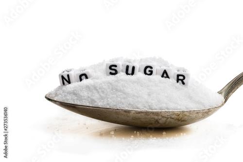 Spoon full of sugar substitute stevia. No sugar concept Wallpaper Mural