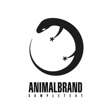 Lizard. Vector Illustration Of Logo. Stylized, Simplified And Isolated Cute Animal.