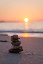 Zen Stone Sculpture - Pebble - And Calm Sea At Sunrise In Tunisia. Vacation.