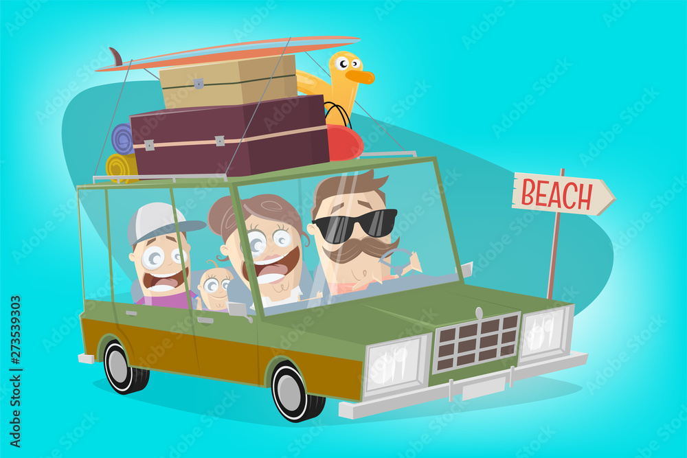 Fototapety, obrazy: funny illustration of a cartoon familiy in a vacation car