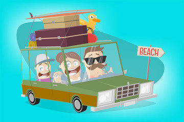 funny illustration of a cartoon familiy in a vacation car