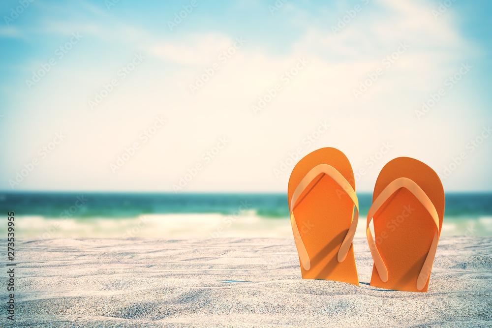 Fototapety, obrazy: Orange flip flops on beach