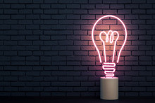 Abstract Neon Light Bulb