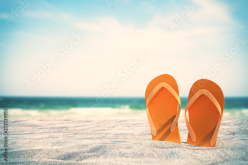 Montage in der Fensternische Strand Orange flip flops on beach
