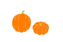 Simple Drawing Of Two Pumpkins, Vector Illustration