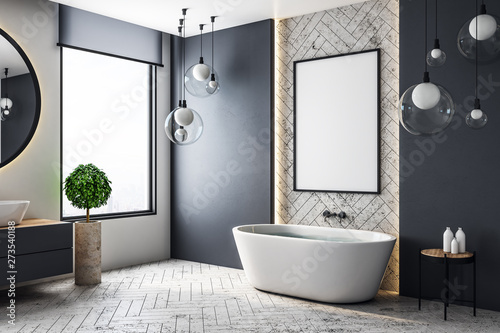 Fototapety, obrazy: Modern bathroom with billboard