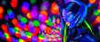 Leinwandbild Motiv Sexy girl dancing in neon lights. Fashion model woman with fluorescent makeup posing in UV on bright background