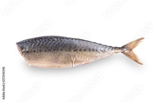 Fotografija  Cold smoked mackerel fish on white background