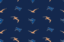 Hand Drawn Vintage Marine Wildlife Seamless Pattern Vector Illustration. Albatross, Gull And Flying Fish Sketch Endless Background.