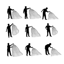 Silhouette Casting A Net Vector