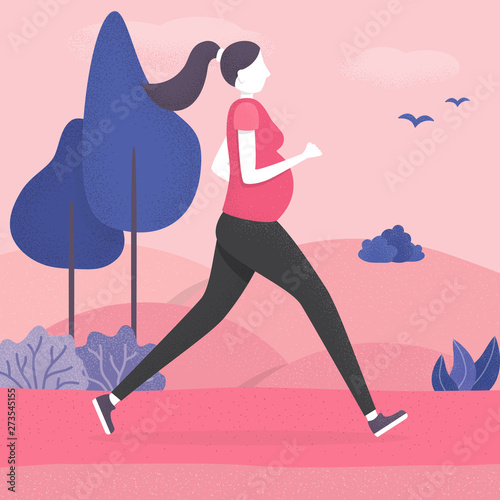 Pregnant woman running healthy pregnancy concept #273545155