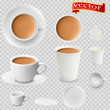 3d realistic cocoa drink coffee in white cups view from the top and side. Cocoa drink coffee in white paper Cups.