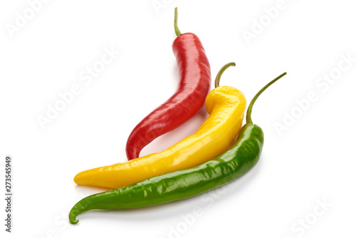 Poster Hot chili Peppers Red hot chili pepper mix, close-up, isolated on white background