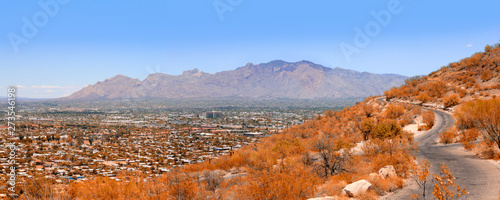 Photo View of Tucson AZ in various directions from atop of A Mountain Sentinel Peak