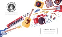 Flat Rock Musical Instruments Colorful Concept