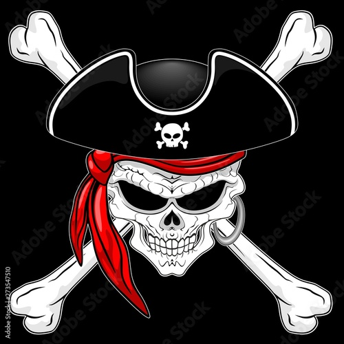 Photo Stands Draw Pirate Skull with Crossed Bones and Red Bandana Vector illustration on Black Background