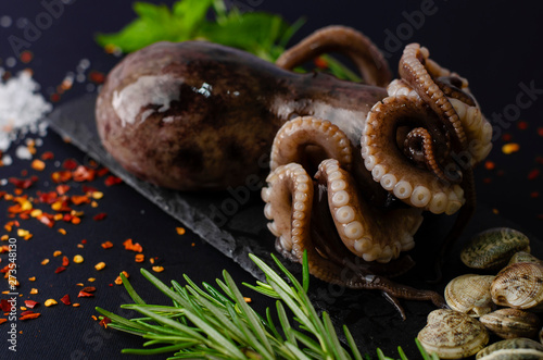 Fotografering  Fresh raw octopus with clams and ingredients for cooking on black slate board on