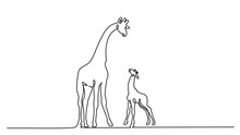 Giraffe With Baby Continuous One Line Drawing