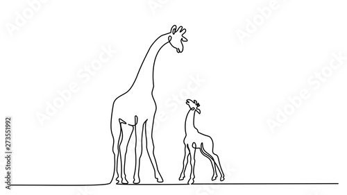 Giraffe with baby Continuous one line drawing Canvas-taulu