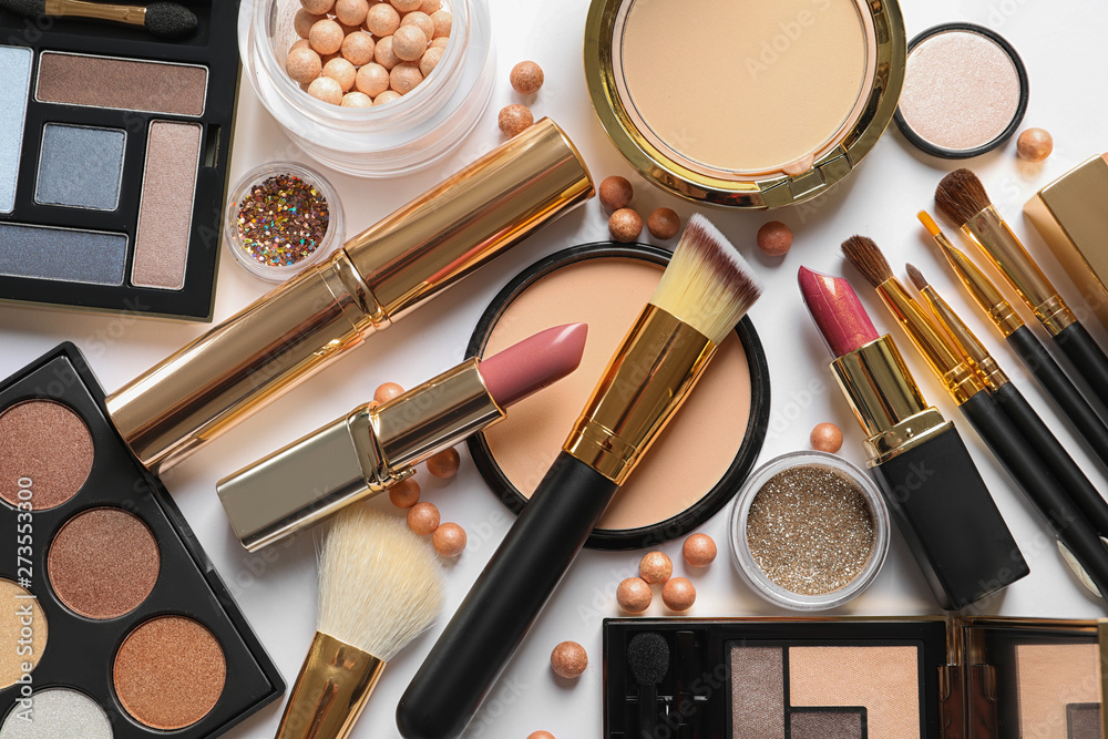 Fototapety, obrazy: Different luxury makeup products on white background, top view