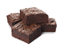Pieces Of Fresh Brownie On Whi...