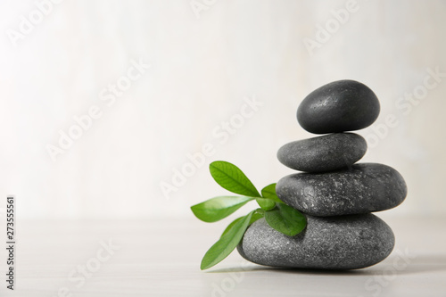 Photo Stands Zen Spa stones with branch on light background. Space for text