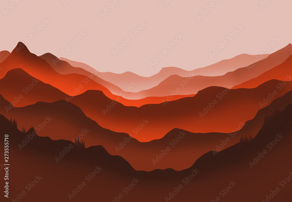Fototapety, obrazy: Digital illustration of mountains and trees in red glow