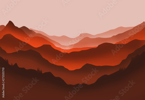 Printed kitchen splashbacks Brown Digital illustration of mountains and trees in red glow